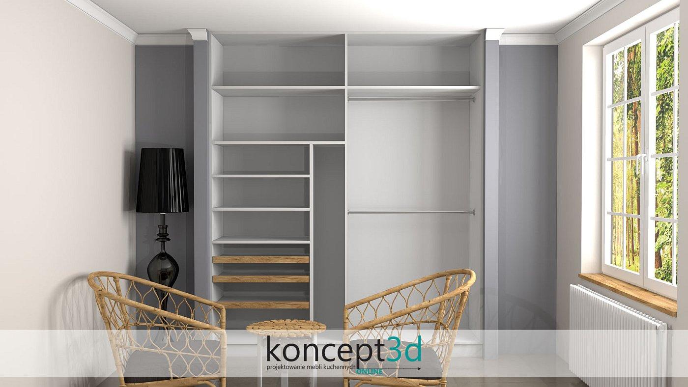 Ciekawe rozwiązanie w postaci drewnianych półek wysuwanych do przodu   koncept3d projekty kuchni kraków