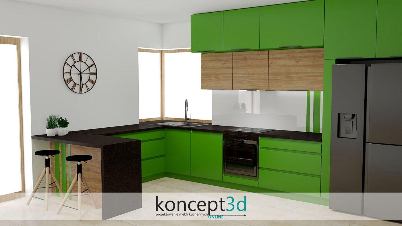 Piękna, zielona kuchnia z drewnem, czarnym blatem i oknem narożnym | koncept3d meble na wymiar