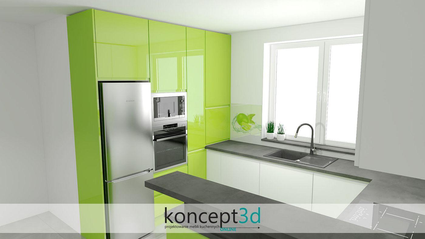 Zielona kuchnia z ciemnym blatem i połyskiem