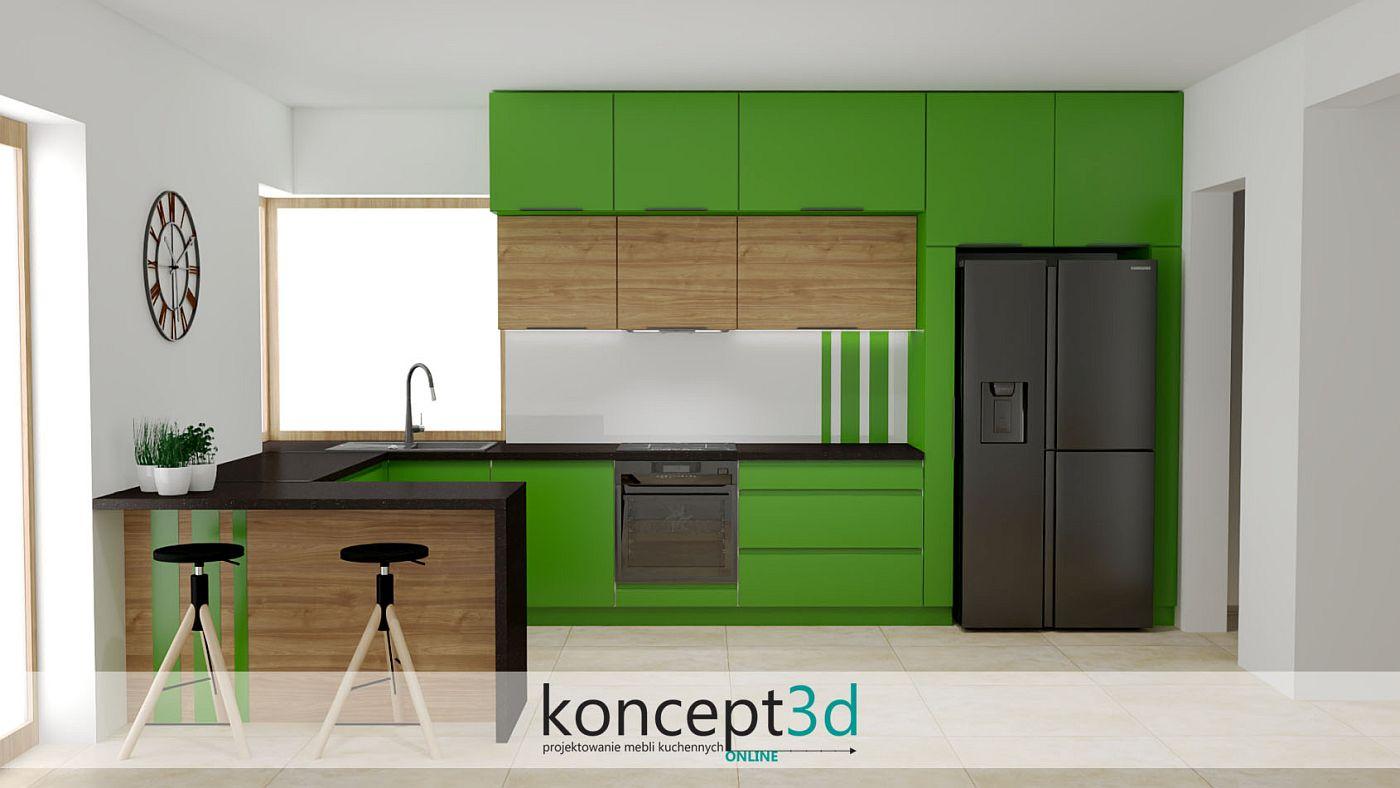 Lakierowana na matowy kolor zielona kuchnia z czarnym blatem i białym lacobelem. Dodatki stanowi jasne drewno | koncept3d meble na wymiar