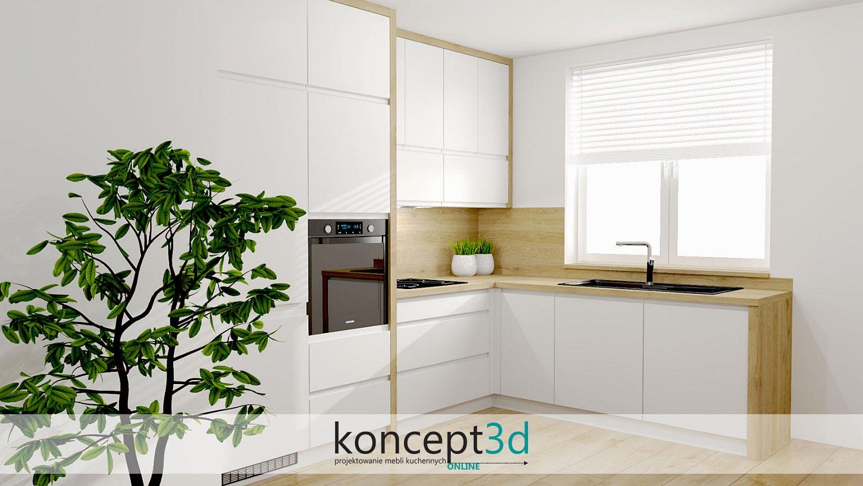 Projekt kuchni w odcieniach bieli i drewna | meble na zamówienie Biertowice