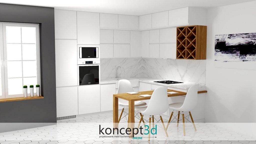 Blat calacatta w kuchni na blacie oraz jako zabudowa ściany | koncept3d projekty kuchni