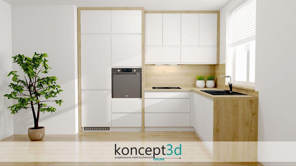 Koncepcja małej kuchni na dwóch ścianach - biały mat i dąb Słoneczny | koncept3d projekty kuchni