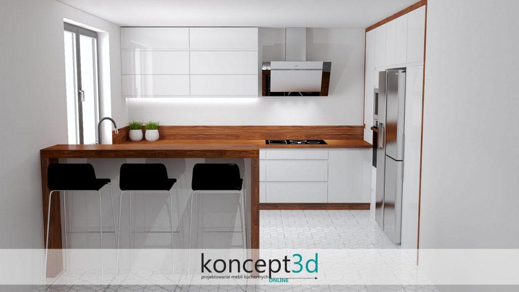 Kuchnia biała z drewnem i uchwytami frezowanymi | projekty kuchni koncept3d