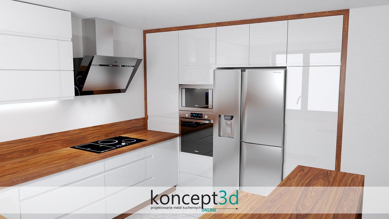 Drewno flader w białej połyskowej kuchni | wizualizacje mebli kuchennych