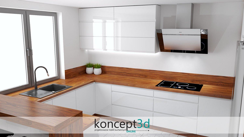 Klapy podnoszone do góry w białej kuchni z drewnem | meble Kalwaria Zebrzydowska