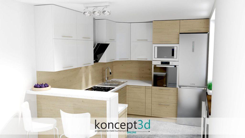 Płyta drewniana z białym w postaci szafek wiszących | koncept3d projekty kuchni