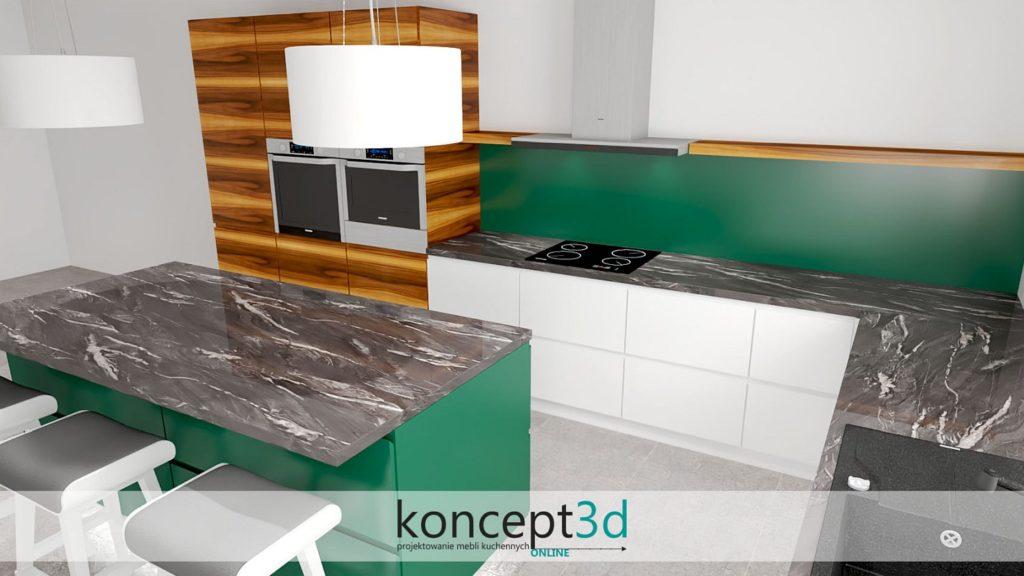 Projekt kuchni w dębie amerykańskim z czarnym kamiennym blatem | koncept3d meble na wymiar