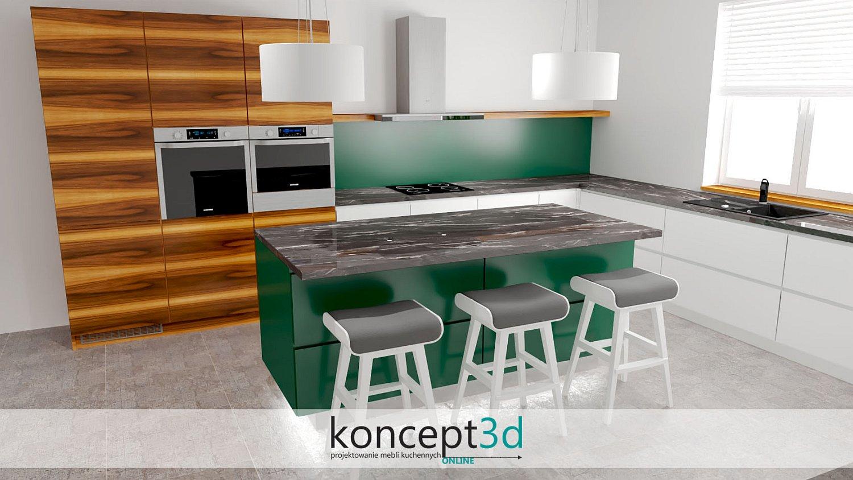 Wyspa w kuchni i za nią wysokie szafy w okleinie dąb amerykański   meble na zamówienie koncept3d