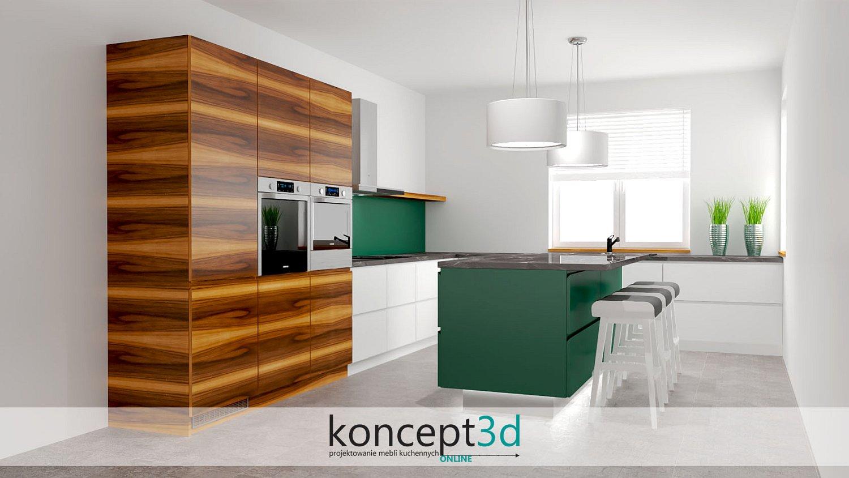 Nowoczesna kuchnia z wolnostojącą wyspą na środku i z elementami dodatkowymi drewnianymi   koncept3d Biertowice
