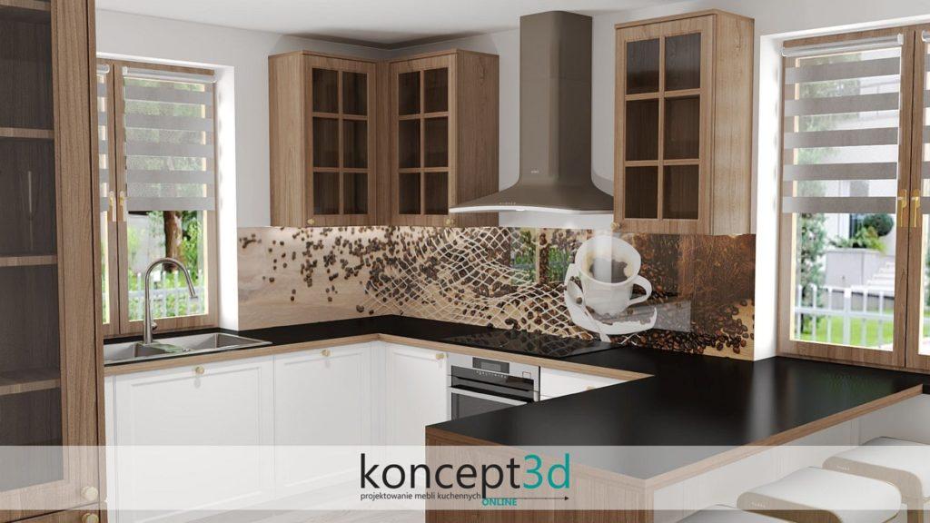 Wzrór kawa i jedzenie jako grafika na szkle w kuchni | koncept3d projekty kuchni | Alfa Szkło