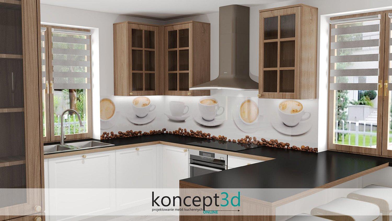 Białe filiżanki kawy między blatem a szafkami wiszącymi w kuchni | szkło laminowane Alfa Szkło | meble na wymiar koncept3d