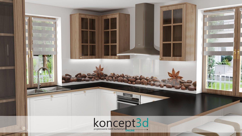 Kawa i cynamon szkło laminowane w kuchni | projekt kuchni z drewnianymi szafkami górnymi koncept3d | wzór kawa i jedzenie