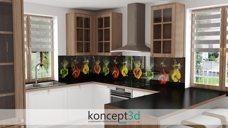 Papryka na ścianie między szafkami jako szkło laminowane | grafika na szkle koncept3d i Alfa Szkło