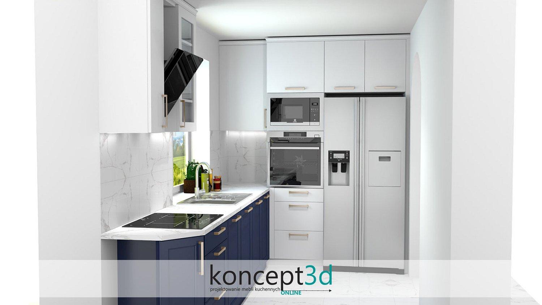 Projekt kuchni z marmurowymi płytkami na ścianie i granatowymi szafkami dolnymi   wizualizacje koncept3d