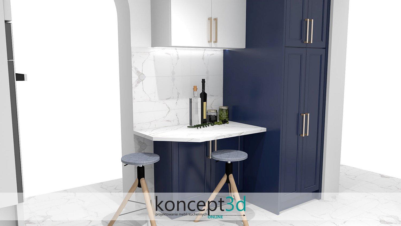 Stolik z kamiennym blatem i taboretami   granatowo biała kuchnia koncept3d
