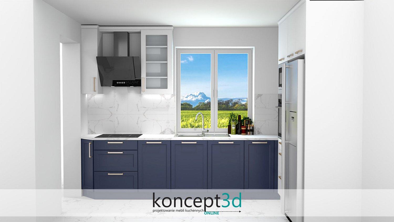 Klasyczne kuchnie to także wszelkiego rodzaju połączenie bieli z granatem   aranżacje mebli kuchennych koncept3d Katowice