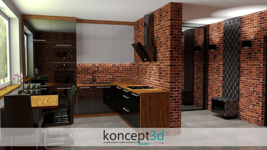 Loftowa kuchnia z szafą przesuwną w korytarzu | koncept3d projekty kuchni