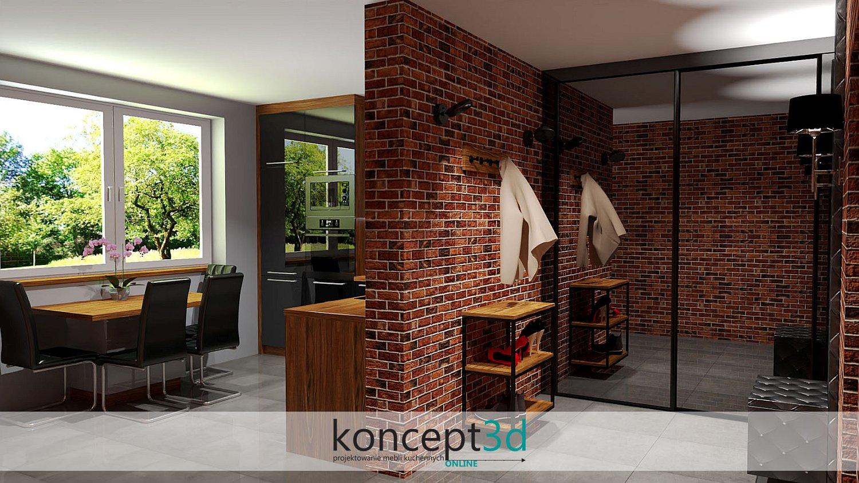 Industrialna loftowa kuchnia z szafą przesuwną i ścianą z czerwonej cegły   meble na zamówienie Katowice