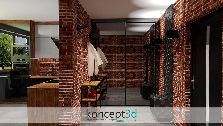 Garderoba z czarną szafą przesuwną w styly Loft i z lewej strony industrialna kuchnia   koncept3d meble na wymiar Kraków