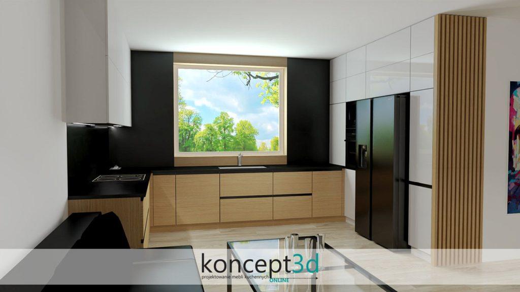Okleina dębowa w kuchni z czarnym blatem i dużym oknem | koncept3d projekty kuchni