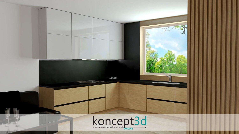 Czarne uchwyty listwowe w dębowej kuchni z szarym   koncept3d aranżacje mebli kuchennych 2021