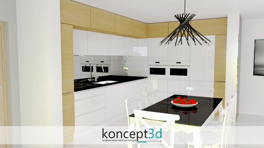Projekt kuchni z lustrem nad blatem jako alternatywa dla płytek | koncept3d meble na wymiar