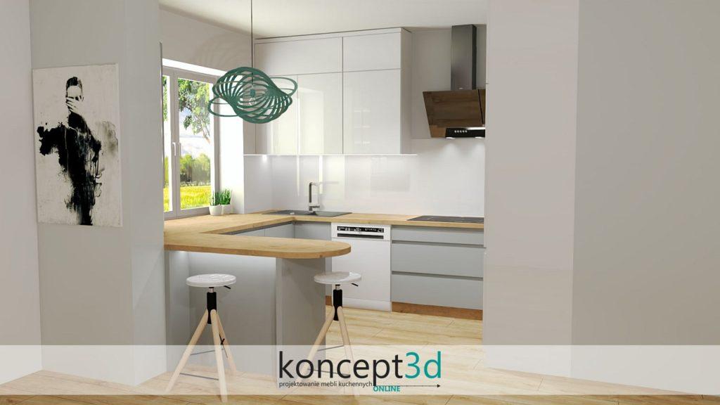 Szara kuchnia z drewnianą podłogą dębową i drewnianym blatem roboczym | koncept3d projekty kuchni