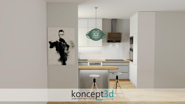 Szaro biała kuchnia z drewnianym blatem i turkusową wiszącą lampą nad ladą | meble kuchenne Warszawa