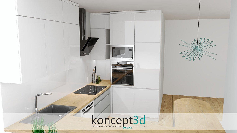 Piekarnik i mikrofala w słupku kuchennych i biały lacobel na ścianie | wizualizacje kuchni Śląsk