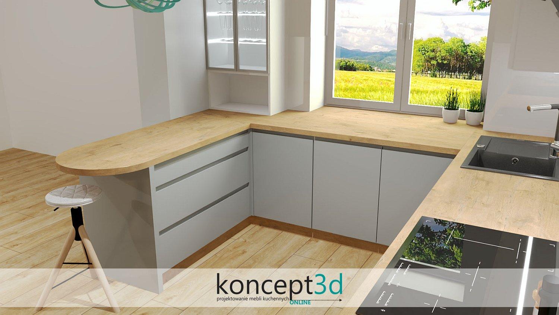Półokrągły półwysep kuchenny z szerokimi szufladami pod blatem i frezowanymi uchwytami | projektowanie kuchni koncept3d