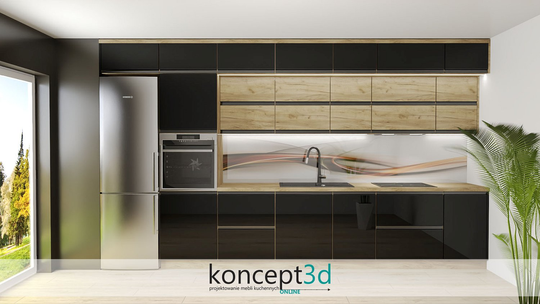 Wzór abstrakcja w kuchni a01 Alfa Szkło | projekty kuchni koncept3d