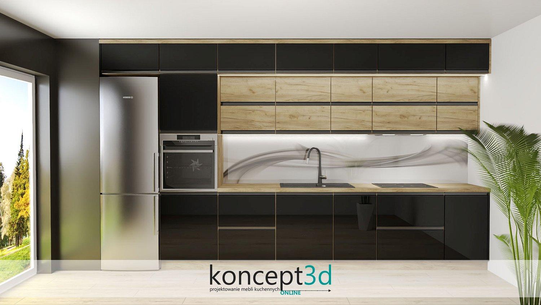Panele szklane abstrakcyjne a13 w czarnej kuchni | koncept3d meble na wymiar