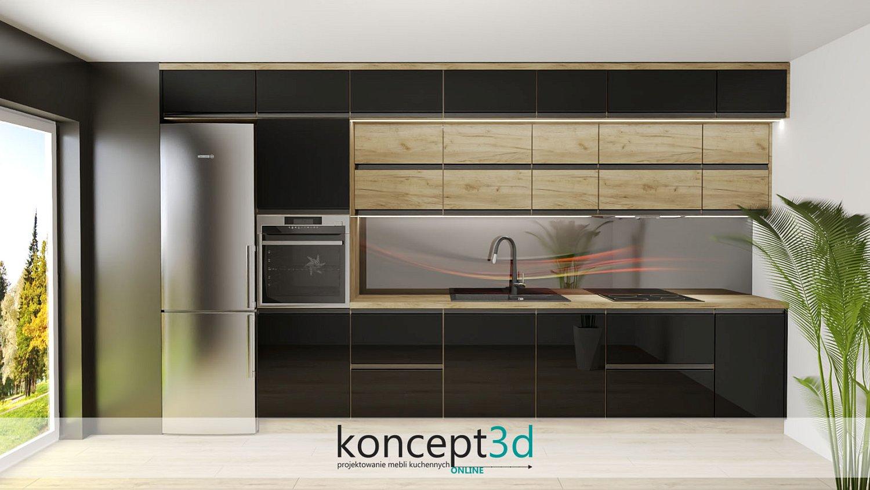 Grafika na ścianie w czarno drewnianej kuchni wzór a25 | meble na zamówienie Warszawa