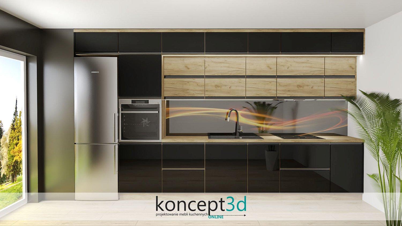Czarne uchwyty w czarno-drewnianej kuchni połączone ze szkłem laminowanym a43 | koncept3d projekty kuchni