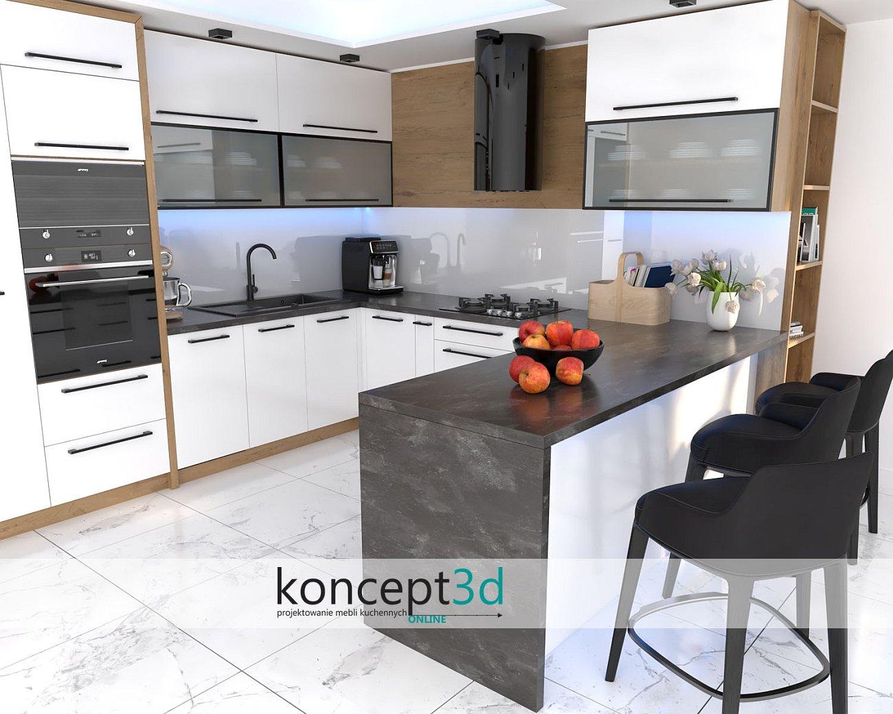 Biała kuchnia z blatem Kronospan 3079 RS Black Oxide   blaty laminowane do kuchni   koncept3d aranżacje kuchni