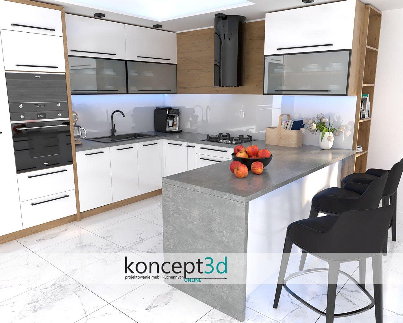 Aranżacja białych mebli kuchennych z blatem Kronospan 4272   inspiracje kuchenne koncept3d   meble Kraków