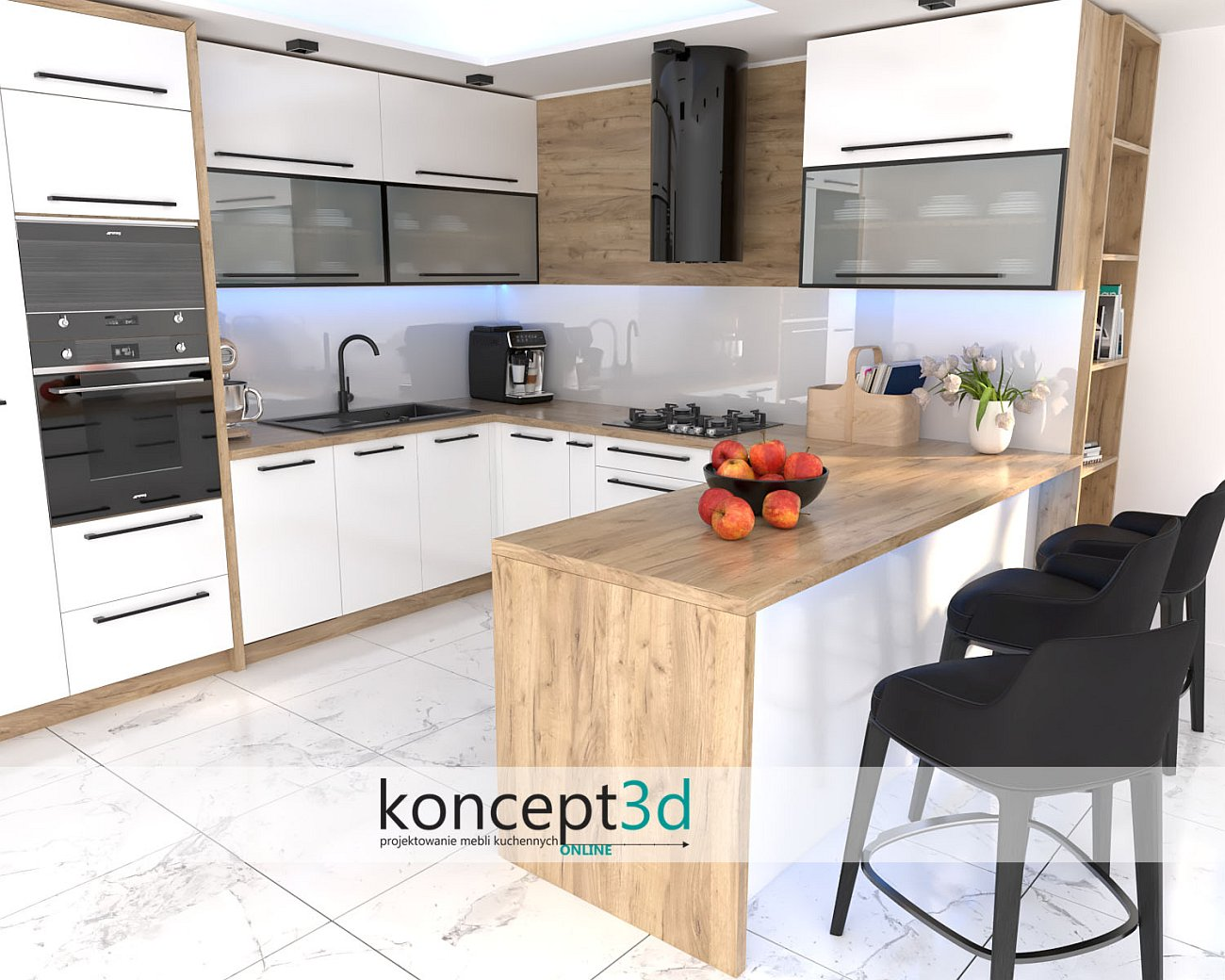 Wizualizacje mebli kuchennych białych | koncept3d