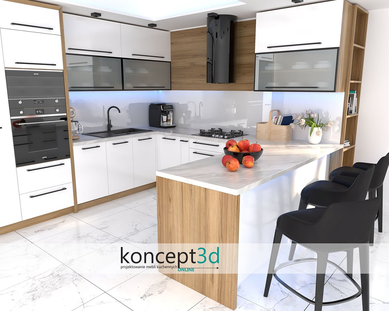 Inspiracja biała kuchnia z blatem K023 Venato   Kraków koncept3d fotorealistyczne wizualizacje wnętrz