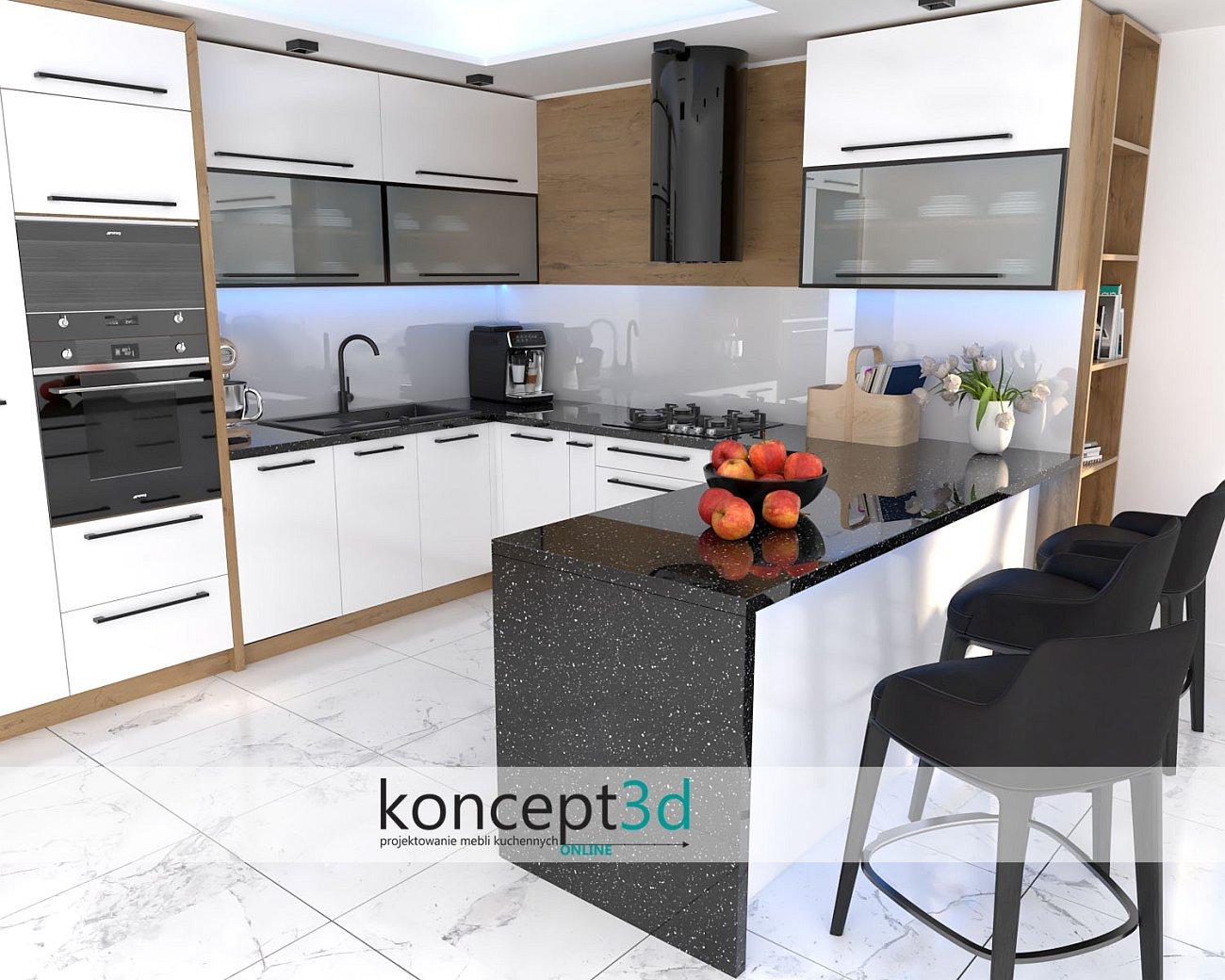 Nowoczesna biała kuchnia z czarnym blatem   wizualizacje mebli Katowice koncept3d