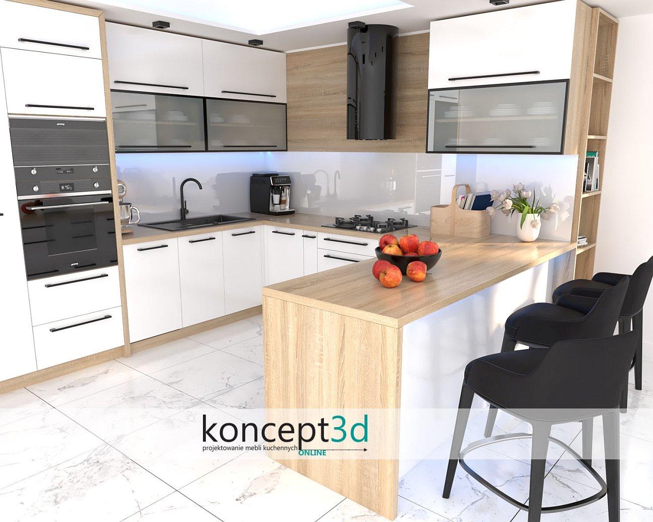 Projekt białych mebli kuchennych z blatem Dąb Sonoma   aranżacje kuchni koncept3d Mysłowice   czarne uchwyty w kuchni