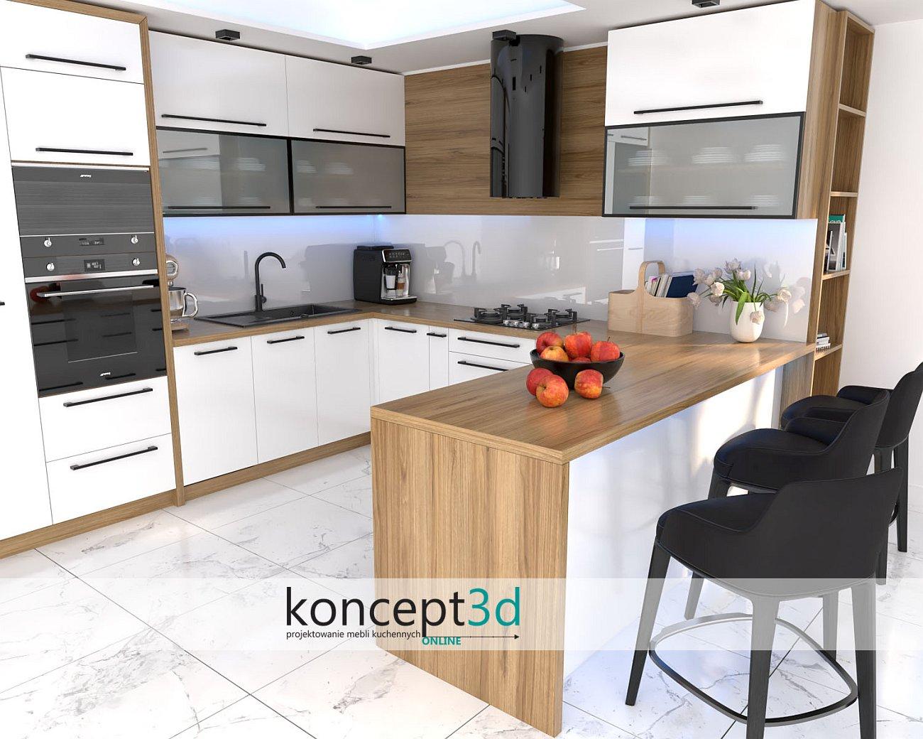 Inspiracja biała kuchnia z blatem D1035 Dąb Pradawny   koncept3d blaty laminowane do kuchni wzory   meble na wymiar Warszawa   czarne ramka aluminiowe