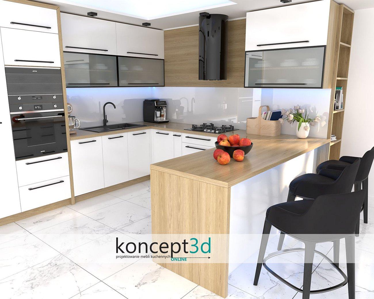 Dąb na zawsze D1036 w białej kuchni   inspirujące aranżacje koncept3d   wizualizacje mebli online   białe płytki w kuchni z półwyspem