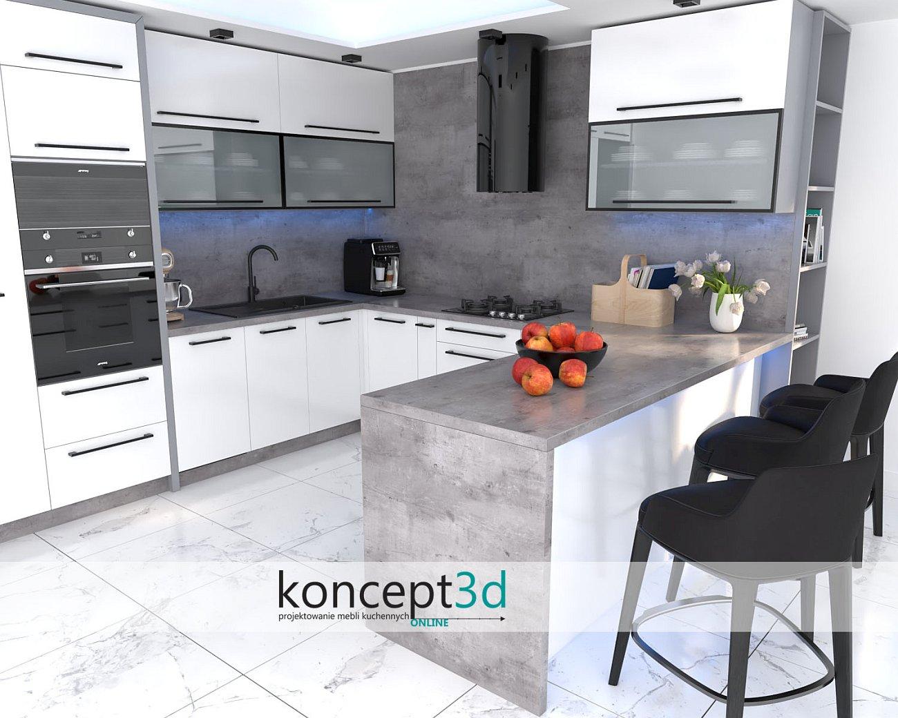 D1038 Beton Millenium w białej kuchni z półwyspem   koncept3d projekty kuchni online   meble na wymiar Kraków i Warszawa