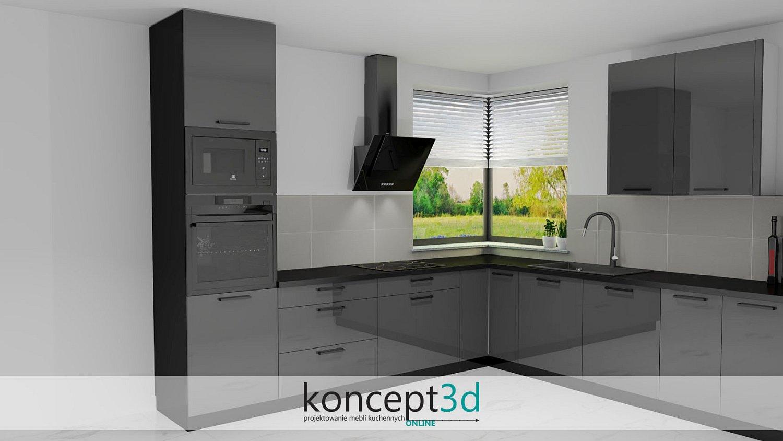 Czarny piekarnik, mikrofala i pochłaniacz w ciemnej kuchni | koncept3d kuchnia projekty