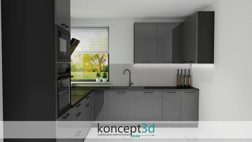 Czarne uchwyty w ciemnej kuchni z oknem narożnym | wizualizacje kuchni koncept3d