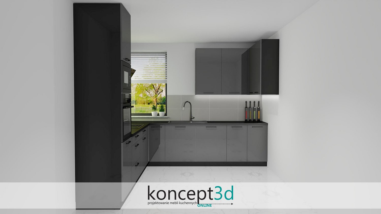 Aranżacja kuchni z ciemnymi meblami i czarnym blatem | inspiracje kuchnia koncept3d