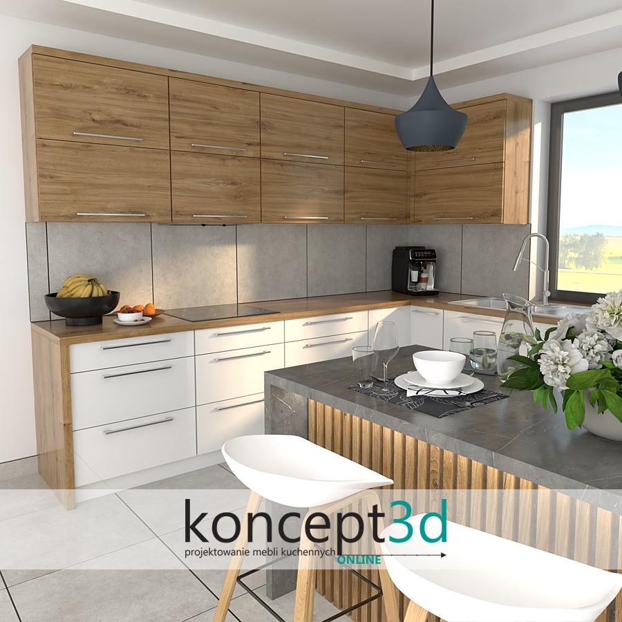 Połączenie białej kuchni z Dębem Odwiecznym | koncept3d inspiracje