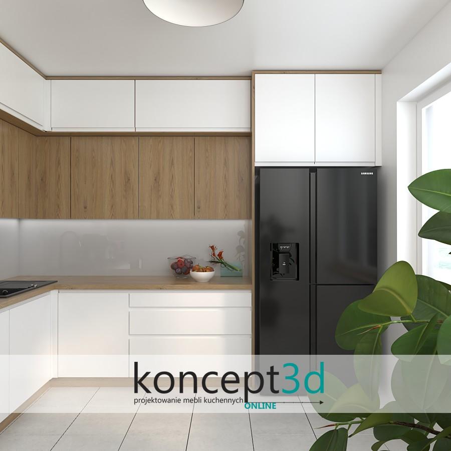 Matowa biała kuchnia z czarną lodówką Side by Side | pomysł na kuchnię od koncept3d