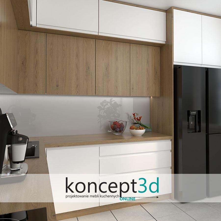 Biała matowa kuchnia z drewnianym blatem roboczym   koncept3d projekty kuchni